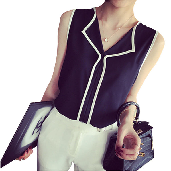 2017 Summer Fashion Womens Casual White V Neck Sleeveless Black Side Chiffon Blouse Shirt Work Wear Women Tops
