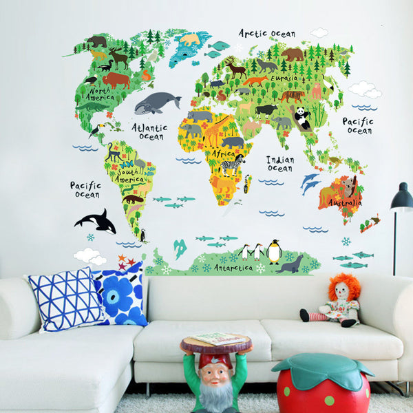 Vinyl Animal World Map Wall Sticker For Kids Rooms Bedroom Decor Pegatinas De Pared Home Decor Living Room Colorful Stickers