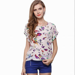 New Sexy Women Colorful Birds Chiffon shirt Batwing Loose Blouse Casual Tops #00225