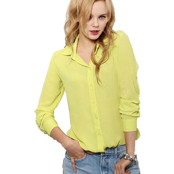 Women Blouses Button 5 Solid Color 2015 New Long-sleeve Shirt Female Chiffon blouse Women's Slim Clothing blusas feminina