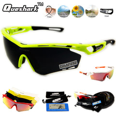 Queshark Full Red Revoed Lens Polarized Cycling Sunglasses Men Women Bike Bicycle Goggles Racing Glasses Sport Eyewear 4 Lens