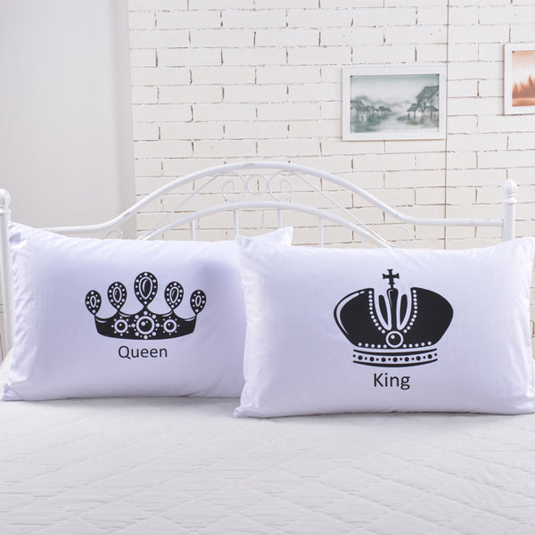 2pcs Royal Crown bedding Pillow Covers Queen King Cat Designer Pillowcase white pillow case