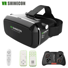 Best Seller VR Shinecon Virtual Reality 3D Glasses google cardboard VR Headset Head Mount for 3.5-6.0' Smartphones + Bluetooth Remote Control Hot Sale