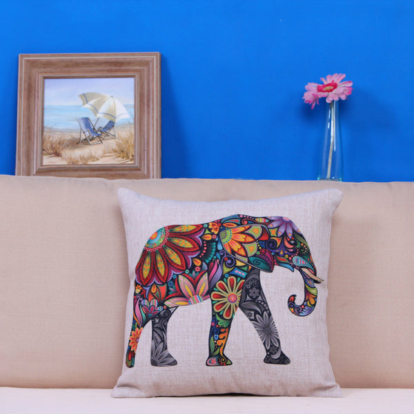 Home Car Bed Sofa Decorative Colorful Elephant Pillow Case Cushion Cover