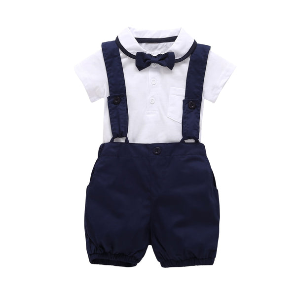 2018 Fashion baby boy clothes short sleeve white T shirt+pants+Bow tie 3cps gentleman baby clothing set newborn kid wedding suit