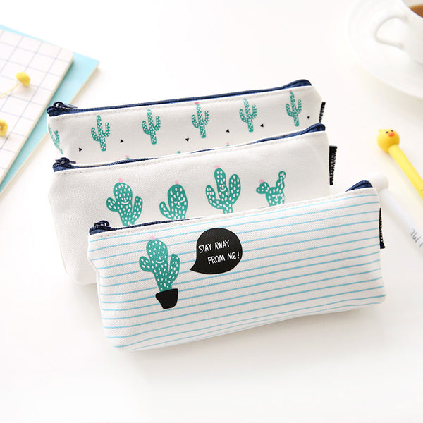 Fashion Jewelry Storage Cactus Canvas Pencil case Pencil box School Supplies Bts Canvas Bag Gift For Guest Party Gift School