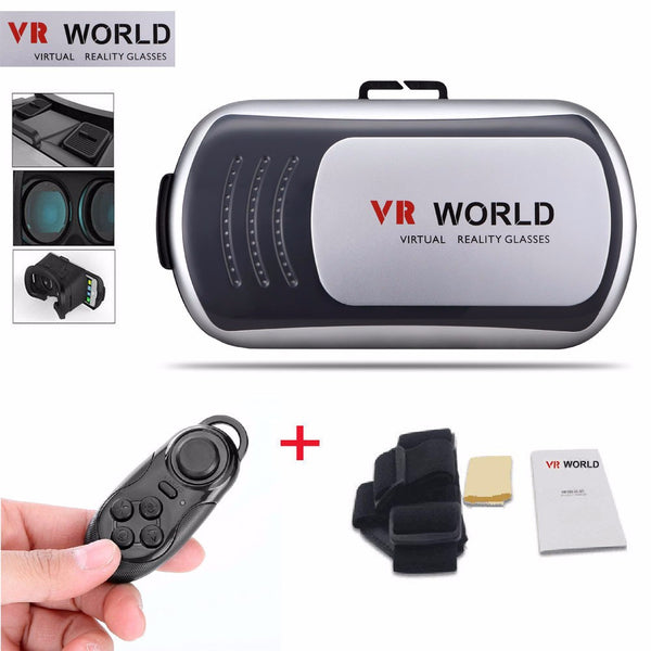 New Latest VR Headset Virtual Reality VR Glasses World Goggles 3D Glasses For Google Cardboard And Bluetooth Remote Controlled Remote Free Shipping