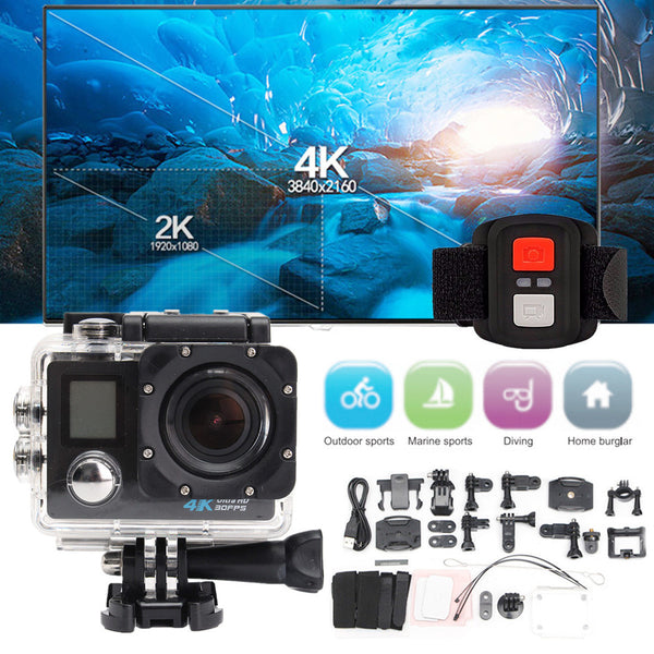 Waterproof 4K Dual Screen Wifi HD 1080P Sports Action Camera DVR Cam Camcorder Jun14