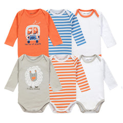 6 Pieces Brand Baby Girl Clothes Boy Long Sleeve Bodysuits New Born Clothing With Character Printed Infant Jumpsuit Overall