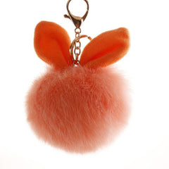 2018 Women Lady 10cm Fur Pom Pom Keychains Fluffy Faux Bunny Ear Fur Ball Keychain Key Ring Bag Accessories Wedding Party Favor