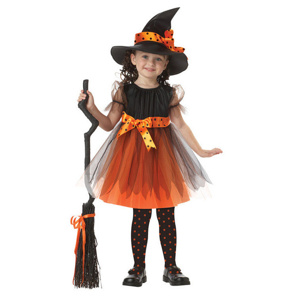 New Novel Witch Costume Role Play Cosplay Performance Dance Show Halloween Costumes For Kids