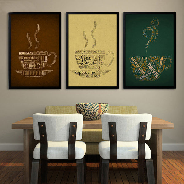 Retro and Nostalgic Coffee Poster Canvas Art Print Wall Decor Bar ,Office, Home Decoration, Frames Not included