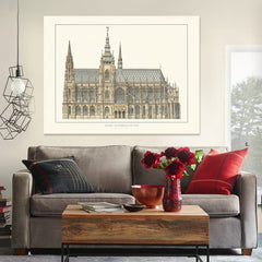 Retro hand-painted church building praha katedrala artists renderings canvas art Living room office  Home Decor free shipping