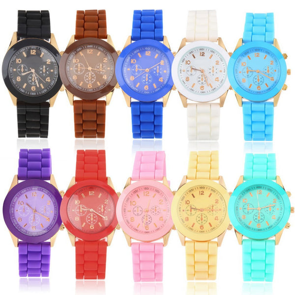 New Fashion Geneva Silicone Quartz Jelly Sport Woman Dress Watches - 11 Colors