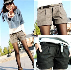 New High Quality Autumn Winter Turn-Up Straight Woolen Bootcut Short Pants for Women - Plus Size Black Grey