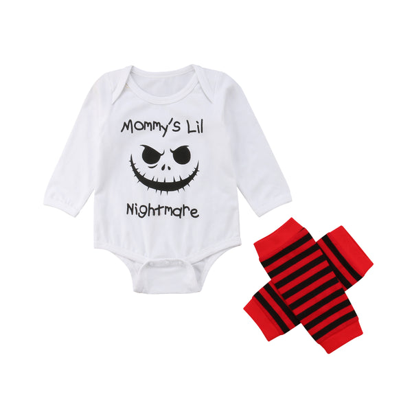 Brand New 2pcs Clothes Set Newborn Baby Girls Boy Halloween Romper Babysuit Striped Leg Warmer Leggings Sock Clothes Outfit