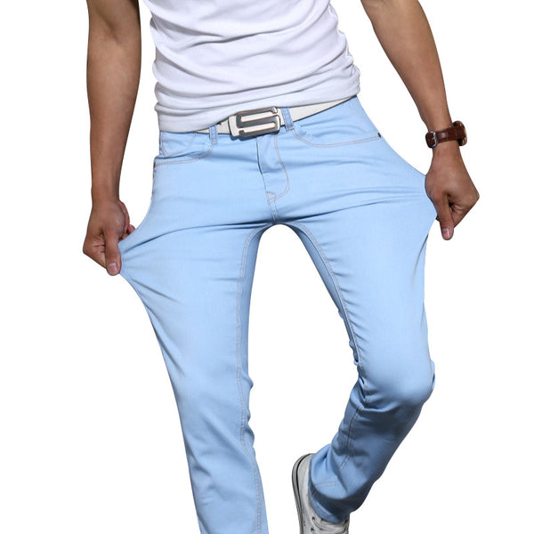 High Quality Casual Stretch Skinny Fashion Jeans Trousers Tight Pants for Men Solid Colors