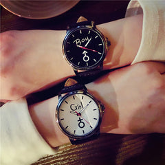Gofuly 2019 Lover's Wristwatch Simple Stylish Couple Watch Luxury Girl and Boy Leather Quartz Clock Lovers Watch For Men Women