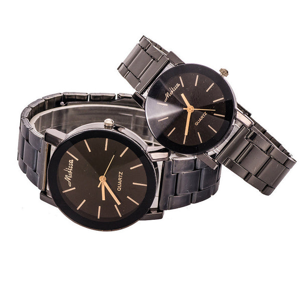 2017 New Fashion Design Couples Watch Personality Couple Strip Steel Band Watches