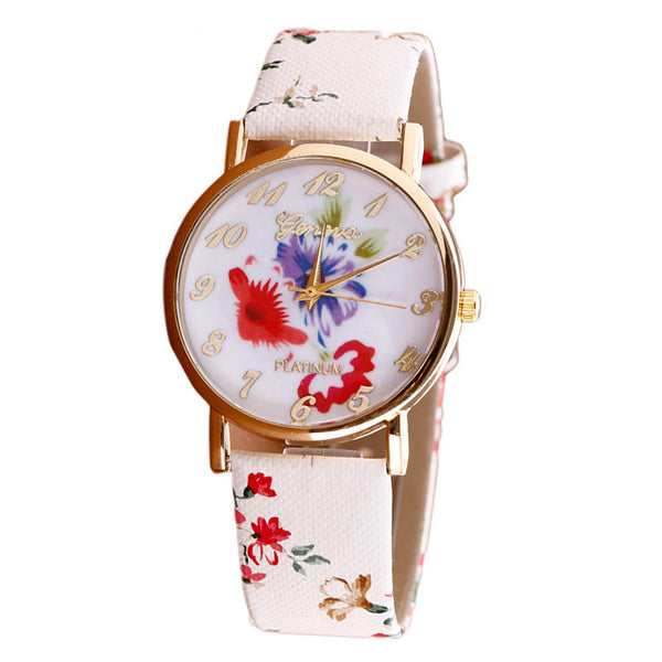 New Arrival Yoner Hot Silicon Strap Beautiful Rose Flower Blue and White Porcelain Super Design Geneva Wristwatch for Student Girls