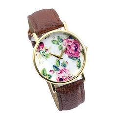 New Hot Sale Overmal Fashion Rose Leather Band Quartz Analog Womens Wristwatch