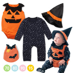 Halloween baby costume pumpkin clothing set 3pcs stars romper+pumpkin vest +wizard hat infant toddler kids boys girls clothes