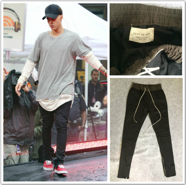 2017 Top Brand Kanye West Yeezus Hiphop Pants Side Zippers Casual Fear Of God Jogger Mens Pants Elastic Stretch Trousers Yeezies New Arrival