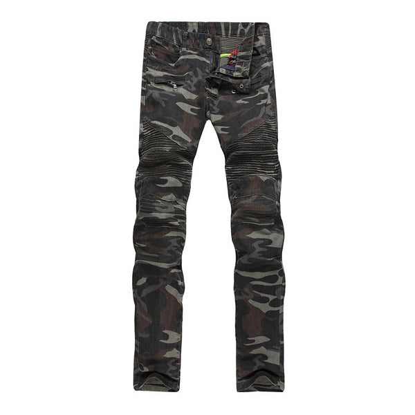 High Quality Camouflage Famous Designer Slim Washed Homme Skinny Jeans for Men - Size 29-38
