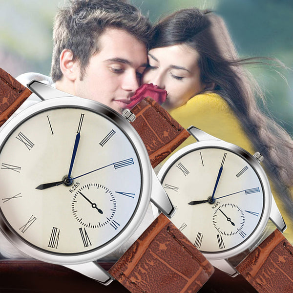 Lovers Watches For Men Womens Faux Leather Strap Quartz Watch Men's Sports Clock Women's Dress Wrist Watch Couple Gift