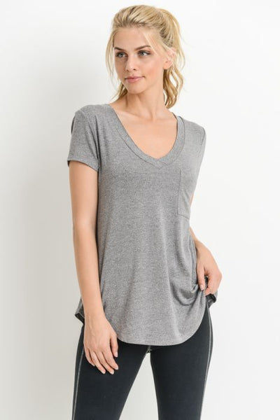 {Last Chance} Lana V Neck Pocket Tee ~ Grey