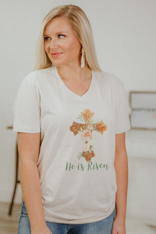 {LAST CHANCE} He Is Risen Graphic Tee ~ Ivory