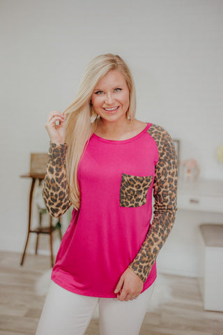 {LAST CHANCE} Sun Is Bright Raglan Top ~ Fuchsia