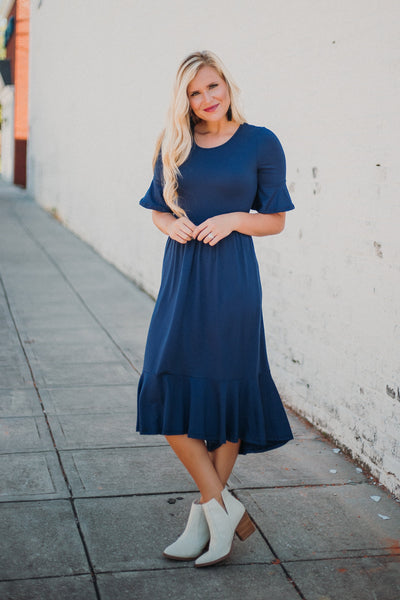 {Last Chance} Beautiful Bell Sleeve Midi Dress ~ Navy
