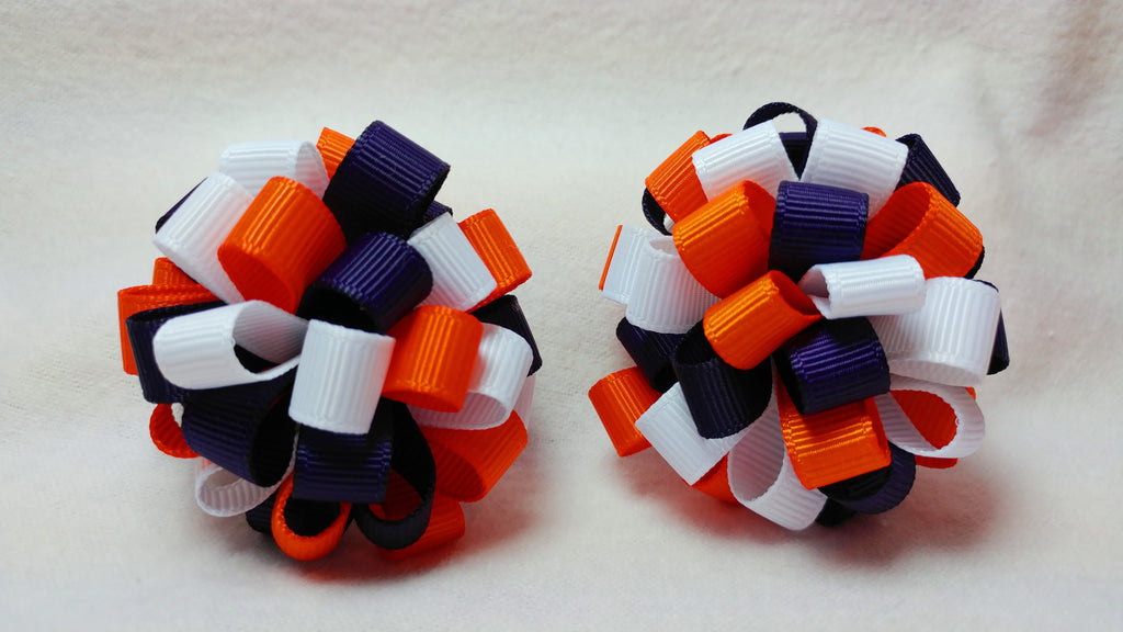 Boutique Mini Hair Bow Puff - Team Spirit