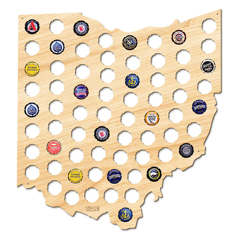 Ohio Beer Cap Map - Large