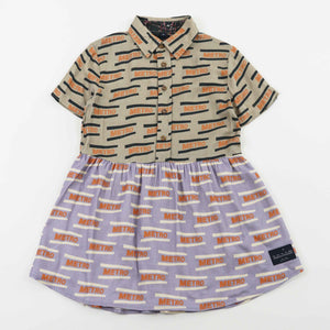 BUTTON DOWN DRESS - METRO MUSHROOM