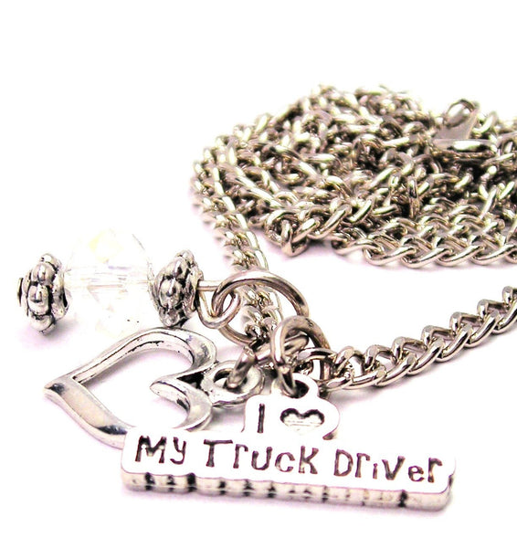 I Love My Truck Driver Necklace with Small Heart
