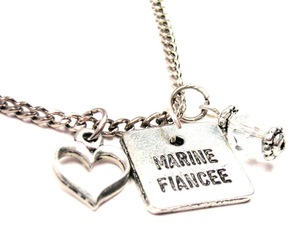 Marine Fiancée Necklace with Small Heart