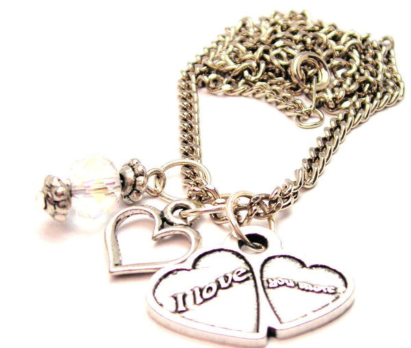 I Love You More Double Hearts Necklace with Small Heart