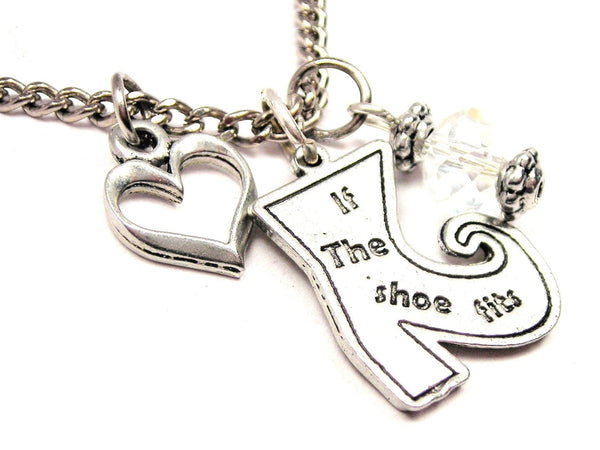 If The Shoe Fits Witch Boot Necklace with Small Heart