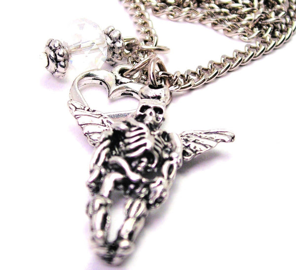 Male Day Of The Dead Angel Necklace with Small Heart