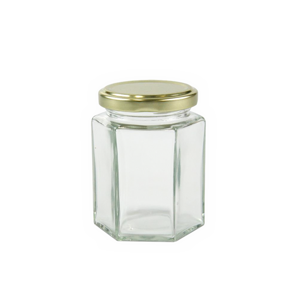 190mL clear glass hexagonal jar, lid 10-pk