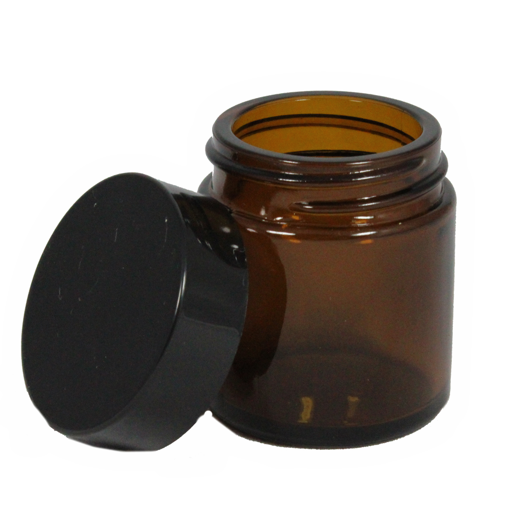 30mL amber glass jar with lid 10-pack