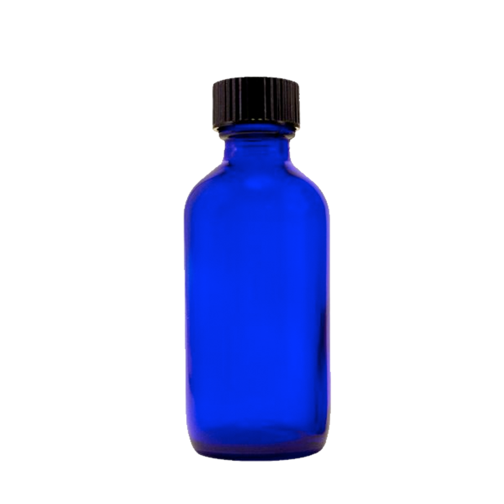 60mL blue glass bottle black cap 10-pack