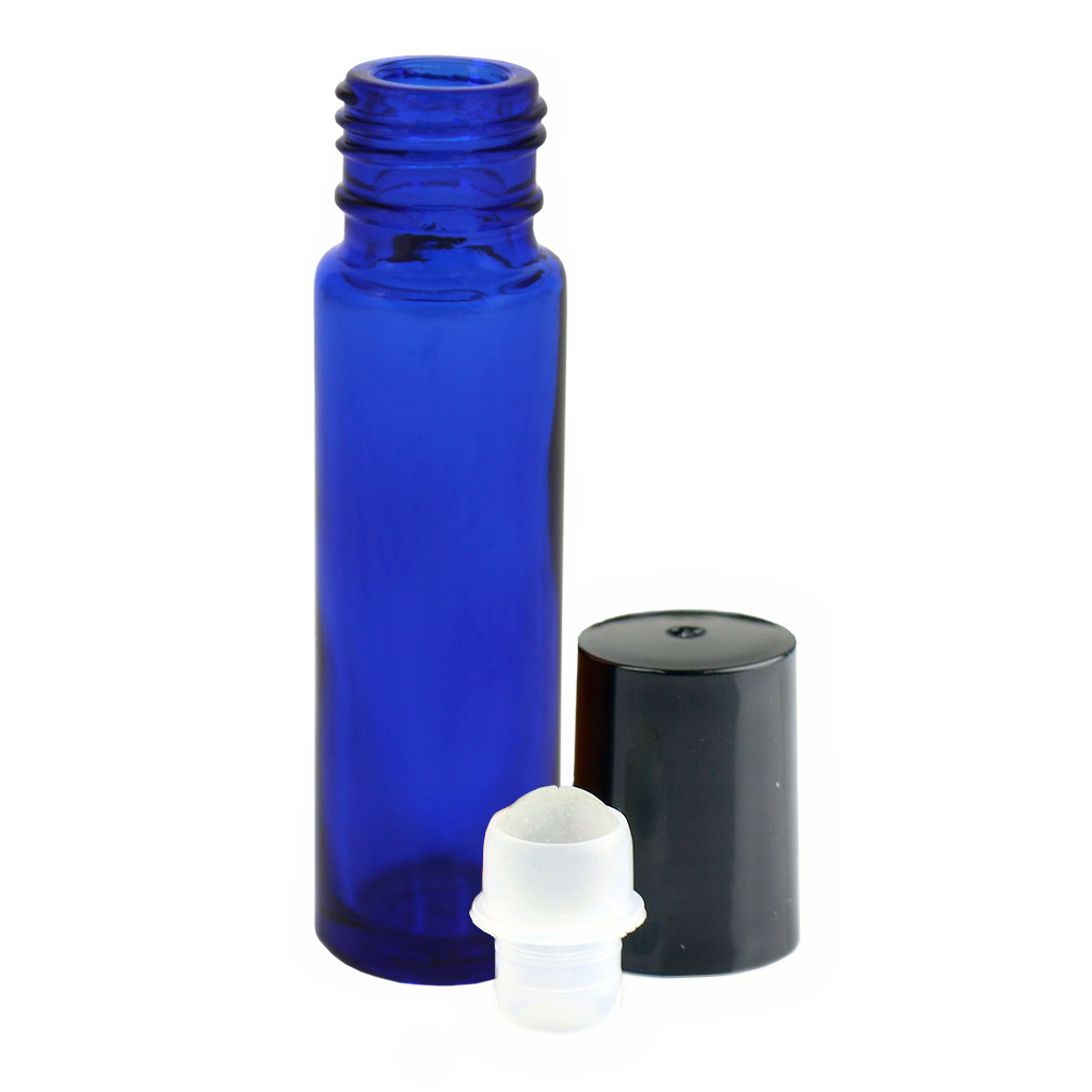 9mL blue glass tube roll-on 10-pack