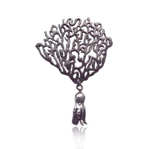 MOMOCREATURA Black Coral & Octopus Single Earring Silver Product Shot Main