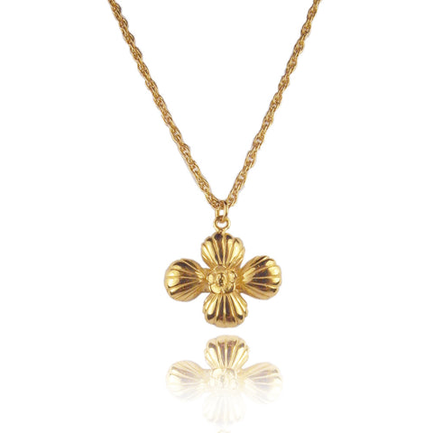 Cross Shell Long Necklace Gold Product Shot Main