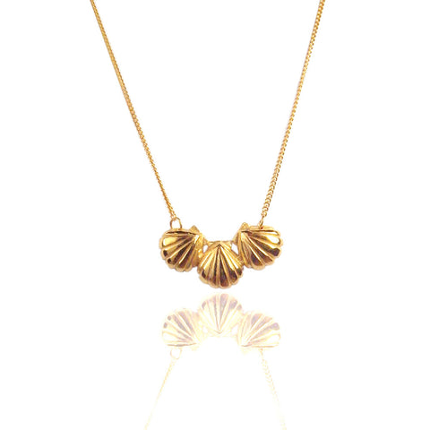 Triple Shell Necklace Gold Product Shot Main
