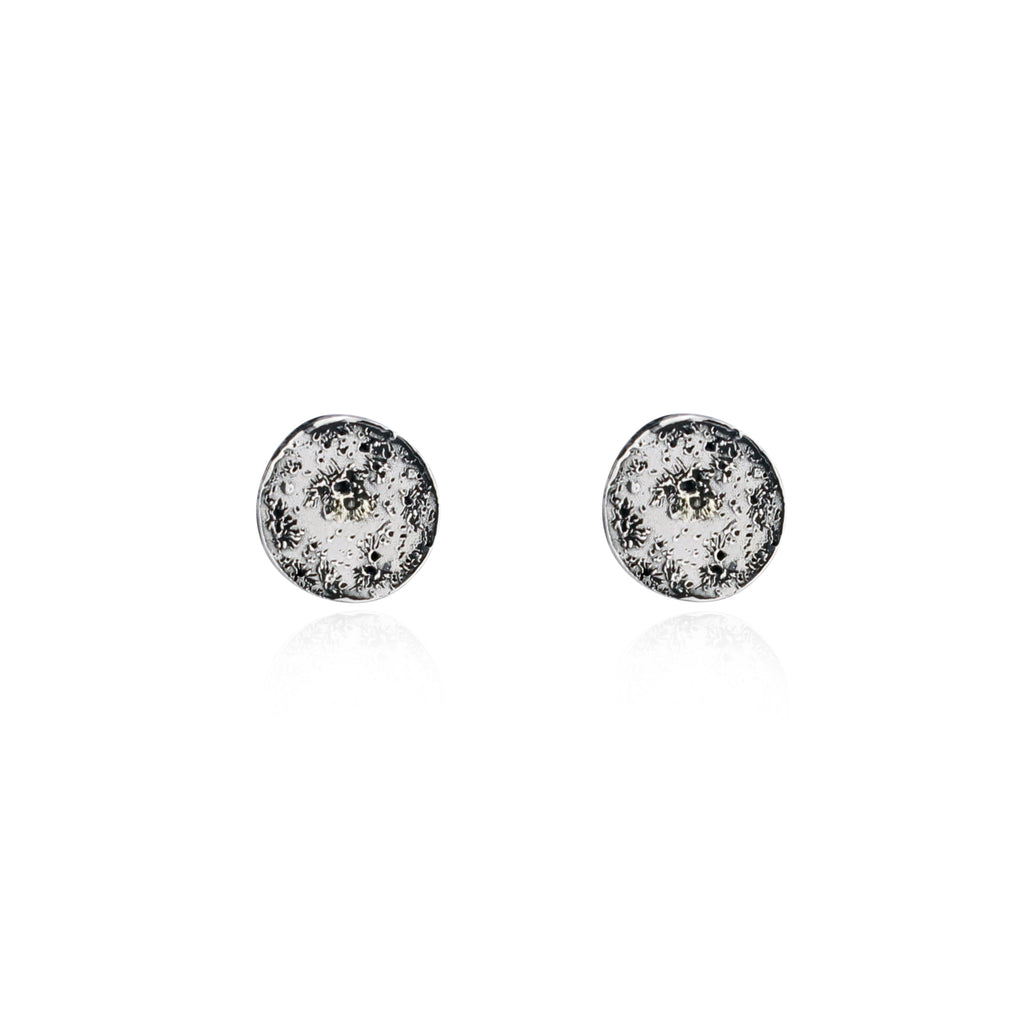 Moon disc earrings silver