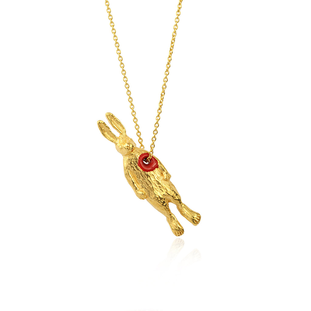 Hole in Heart Rabbit Necklace Gold